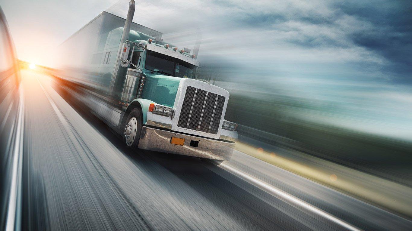 American truck on freeway
