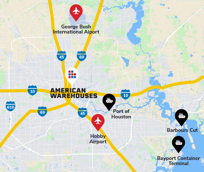 Map illustrating where American Warehouses is located in proximity to major ports and highways