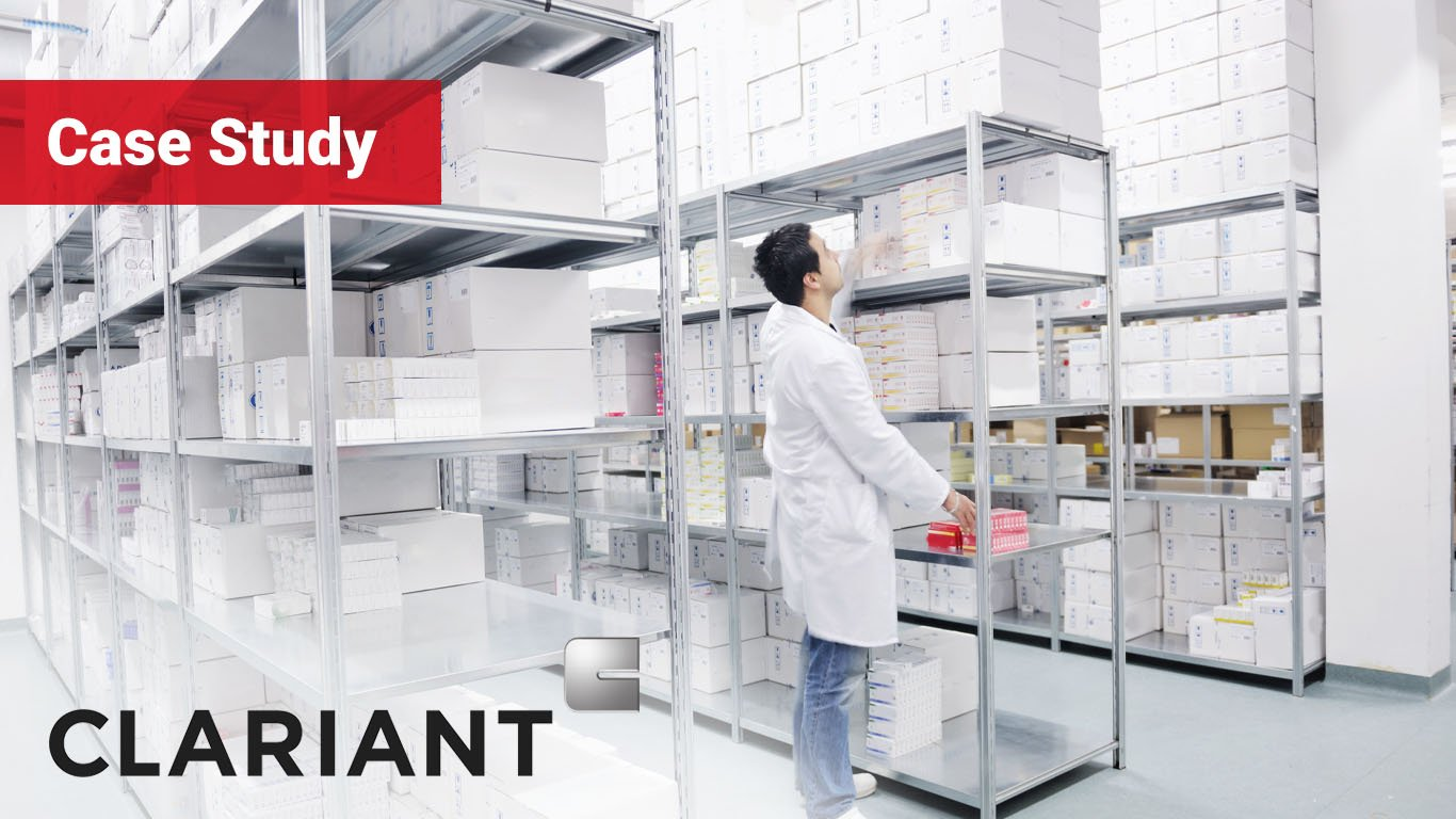 medical factory supplies storage indoor with employee reviewing boxes